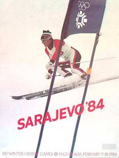 1984 Sarajavo Olympics Downhill Skiing Poster
