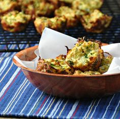 Baked Zucchini BitesSummer Zucchini Bites Ingredients ■1 Tbsp butter, for greasing pans ■2 large eggs ■2 cups grated zucchini (1 medium to large zucchini) ■1/2 yellow onion, finely chopped ■1/2 cup coarsely grated cheddar cheese (2 ounces) ■1/2 cup plain breadcrumbs ■1/2 cup finely chopped fresh parsley ■1/2 tsp kosher salt ■Pinch of freshly ground pepper Pre-heat oven to 400 F.