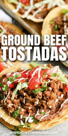 These Beef Tostadas are so fresh & flavorful! Layers of refried beans, ground beef, and veggies, topped with cheese and salsa. #spendwithpennies #beeftostadas #groundbeeftostadas #recipe #maindish #mexican #homemade #fresh #easy #best