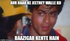 Top 5 evergreen Bollywood villian dialogue... Aur Haar ke jeetney walle ko Baazigar Kehte hain - Shahrukh Khan SRK