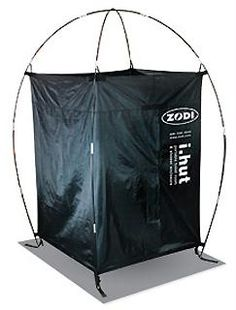 i.hut XL Privacy Enclosure-The Zodi i.hut shower shelter is HUGE! Almost 4 feet wide per side! Most enclosures are tepee shaped and get smaller near the shoulders. The i.hut is almost 6 ft across at the top, which is good news for the big guys at camp. The door is overlapped and springs shut automatically without zippers that gum up. The i.hut works great for showering, bathrooms and changing clothes in private. Oversized detachable floors keeps you clear of mud and dirt.  $94.95