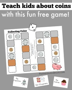 the names of coins with this fun game! (preK-grade 1 Teach the names of coins with this free printable game!Teach the names of coins with this free printable game! Money Activities, Money Games, Math Resources, Kids Worksheets, Creative Activities, Creative Ideas, Math Classroom, Kindergarten Math, Classroom Ideas