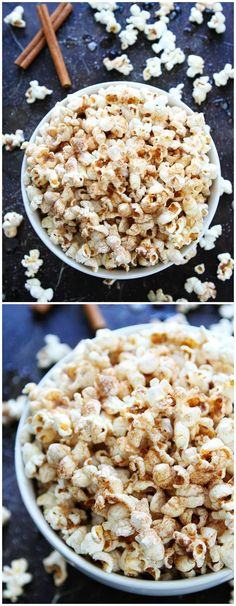 Brown Butter Cinnamon Sugar Popcorn Recipe on http://twopeasandtheirpod.com This simple and sweet popcorn is the BEST! It is perfect for movie night, game day, parties, or any day!