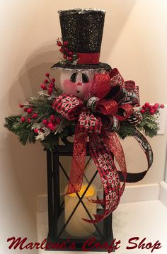 Lantern Swag Snowman Decoration/ Snowman by MarlenesCraftShop