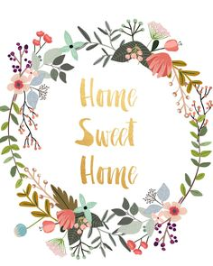 Home Sweet Home Printable Art Typography Print by PaperStormPrints