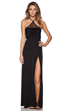 Bettinis Lace Maxi Dress in Black