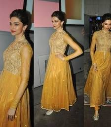 Buy Deepika padukone in Golden Anarkali Churidar Suit bollywood-salwar-kameez-online online
