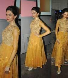 Buy Deepika padukone in Golden Anarkali Churidar Suit bollywood-salwar-kameez-online online