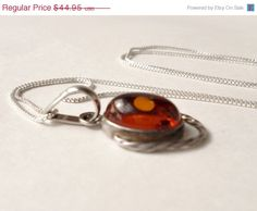 Genuine Amber and Sterling Silver Pendant and by TheInspiredTrader, $35.96
