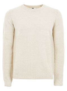 Stone And White Twist Grid Sweater