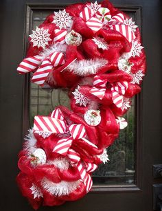 Christmas Deco Mesh Wreath , Candy Cane Wreath, Christmas Mesh Wreath, Christmas Wreath, Giant Candy Cane Decoration