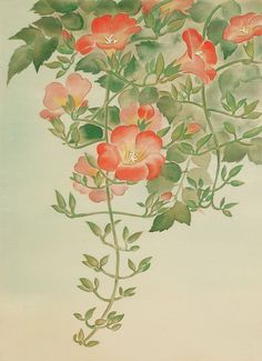 Tsukuda Kisho- heap of sugar, a better life Institute Chinese Painting Flowers, Chinese Flowers, Asian Flowers, Japanese Painting, Japanese Art, Botanical Art, Botanical Illustration, Watercolor And Ink, Watercolor Flowers