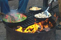 Campfire fajitas... would also work on the camp stove.  I'd prep and precook/freeze as much as possible.  Could be done for veggie friends too, with flour or corn tortillas, and green chile sauces.