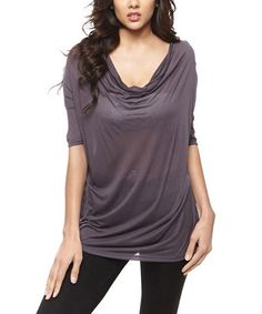 Look what I found on #zulily! Charcoal Drape Neck Tunic by 42POPS #zulilyfinds