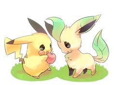 Pikachu and Leafeon Share an Apple... so cute