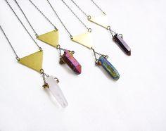 Raw Quartz Crystal  Necklace  Titanium Quartz by AlinaandT on Etsy, $24.00