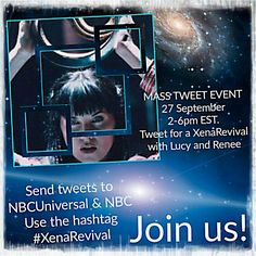 Xenites are you ready for a new MASS TWEET EVENT? Join us for a #XenaRevival with Lucy and Renee!