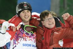"""2014 Olympics Sochi - Freestyle skier Alex Bilodeau defended his Olympic gold medal in men's moguls late Monday, becoming the first Canadian to take home two golds in his event. What happened next, however, touched the hearts of many.     After finishing what he called the """"best run of [his] career, the 26-year-old immediately rushed to the sidelines to embrace his biggest inspiration: his brother Frederic, who has cerebral palsy."""