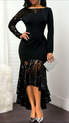 Women'S Black Long Sleeve Sheath High Low Evening Party Dress Solid Color Zipper Back Lace Panel Maxi Dress By Rosewe Back Zipper Lace Panel High Low African Fashion Dresses, African Dress, Dress Fashion, Fashion Outfits, Black Dresses Online, Dress Online, Online Clothes, Frack, Panel Dress