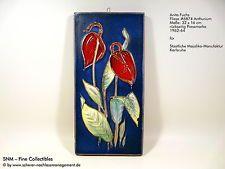 MAJOLIKA KARLSRUHE Wand Fliese Kachel Platte Relief Keramik FUCHS 6874 Anthurium