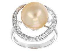 golden cultured South Sea pearl with white zircon rhodium over sterling silver ring. Measures approximately x Not sizeable. Colors, shapes, and sizes vary. Silver Pearl Ring, Silver Pearls, Sterling Silver Rings, Pearl Rings, Pearl White, Discount Engagement Rings, Golden South Sea Pearls, Beautiful Engagement Rings, Broken Chain