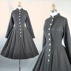 RESERVED 50s Princess COAT / 1950s Dark Gray by GeronimoVintage