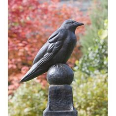 Campania International Raven Cast Stone Garden Statue Copper Bronze - A-360-CB