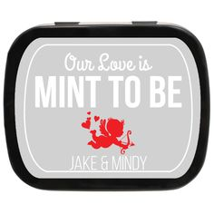 Cupid's Arrow, Our Love is Mint to Be Personalized Wedding Mint Tins #weddingfavors #mintfavors #partyfavors