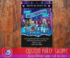 Shop for on Etsy, the place to express your creativity through the buying and selling of handmade and vintage goods. Printable Invitations, Party Printables, Birthday Invitations, Monster High Invitations, Monster High Birthday, Birthday Thank You Cards, Handmade Gifts, Etsy, Decor