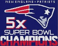 Cross Stitch Knit Crochet Plastic Canvas Waste Canvas Rug Hooking  Perler Bead Work Pattern  This is The New England Patriots Super Bowl 5 X Champions!  You can stitch this on anything made of fabric with waste canvas.  Put in on your jean jacket, your purse, a t shirt!   Or make blanket by knit or crochet.  This pattern is 144 X 115 Stitches (Squares) This pattern uses only 4 colors. https://www.pinterest.com/resparkled/