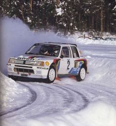 Ari Vatanen, the 1981 World Champion, negotiates his Peugeot 205 around an icy bend at the International Swedish Rally, the second round of the 1985 World Rally Championship. The Finn would win the event by less than two minutes from Swede Stig Blomqvist. Psa Peugeot Citroen, Peugeot 205, Nascar, Sport Cars, Race Cars, 205 Turbo 16, Rallye Wrc, Course Automobile, Monte Carlo Rally