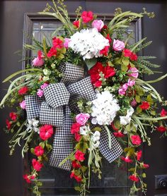 Valentines Door Wreaths, Wild and Woodsy Wreath, Valentines Day Wreath, Spring Summer Wreath, Hydrangeas  Morning Glory Wreath, Houndstooth