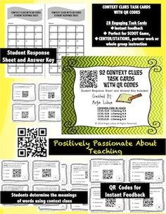 QR codes are a blast! Add them to any lesson to rev up the students' excitement about learning.With these 28 task cards, you'll not only build your students' vocabulary skills, but you'll see the excitement as the children use a mobile device to instantly check their answers.