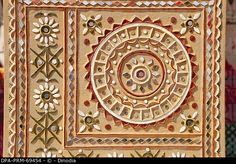 Stock Photo: Modern mud and mirror work , Bhuj , Kutch , Gujarat , India. Clay Wall Art, Mural Wall Art, Mural Painting, Murals, Mirror Crafts, Mirror Art, Clay Art Projects, Diy Projects, Tanjore Painting