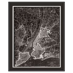 120, Gallery wrapped framed giclee print of a map of New York City. Ready to hang.    Product: Giclee framed print Construct...