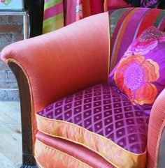 A personal favorite from my Etsy shop https://www.etsy.com/ca/listing/469680585/upholstered-magenta-and-orange-art-deco