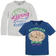 Various Print Long and Short Sleeve T-Shirt Set Blues