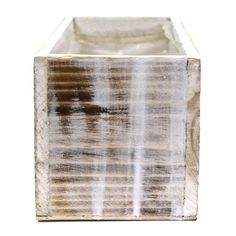 12 x 4 Rectangular Wood Vase - Shabby White [424466] : Wholesale Wedding Supplies, Discount Wedding Favors, Party Favors, and Bulk Event Supplies