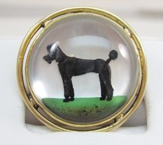 VINTAGE REVERSE PAINTING ON GLASS POODLE CAMEO 14K GOLD PIN