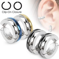 5c8ea8414 Half Color IP Pair of Surgical Stainless Steel Non-Piercing Clip On Round  Dome Earrings, Women's