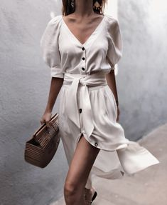 Puff Sleeve Button Through Legeres Kleid mit Gürtel - chiquebabe_official - O. - Puff Sleeve Button Through Legeres Kleid mit Gürtel – chiquebabe_official – Outfits – Source by - Date Outfits, Trendy Outfits, Fashion Outfits, Fashion Clothes, Fashion Ideas, Dress Fashion, Fasion, Fashion Styles, Cheap Outfits