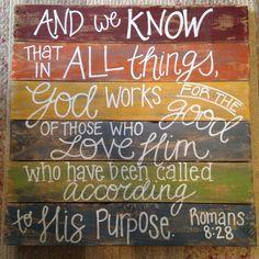 Wood Pallet Art  Bible Verse Series romans 8:28 by HollysHobbiesTN