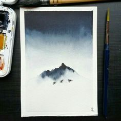 Misty mountain inspired by gorgeous Iceland pictures I truly love this one ! Watercolor Drawing, Watercolor Landscape, Watercolor Illustration, Painting & Drawing, Watercolor Paintings, Watercolors, Painting Inspiration, Art Inspo, Iceland Pictures