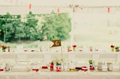 Long Wedding Tables, another view of the table decorations.