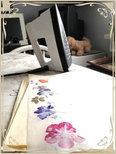 How to Make a Bookmark Pressing Flowers With an Iron, done this to make wrapping paper