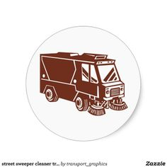 street sweeper cleaner truck round stickers