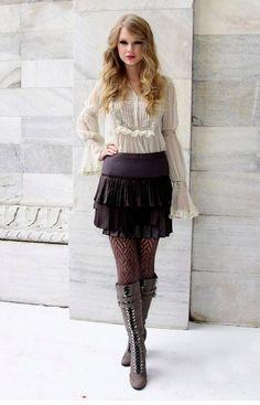 Taylor Swift - white blouse, blue skirt, high boota