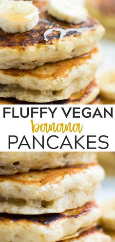 Wonderfully fluffy vegan banana pancakes, incredibly easy to prepare with . Wondrously Fluffy Vegan Banana Pancakes, incredibly easy to make with a mashed banana and a handful of pantry staples! Made in 1 bowl. Pancakes Végétaliens, Vegan Banana Pancakes, Vegan Pancake Recipes, Vegan Foods, Vegan Dishes, Vegan Recipes Easy, Whole Food Recipes, Vegan Healthy Pancakes, Fluffy Vegan Pancake Recipe