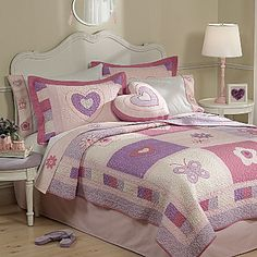 New RUFFLE PILLOW SHAMS Solid Hearts Bedding EMBROIDERY Twin Full Queen King JCP