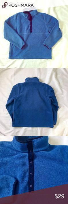 L. L. Bean // Snap Neck Fleece Pullover Light blue snap neck fleece pullover with navy blue contrasting trim. Slant pockets. Women's sizing. Fleece has some wear from typical washing and wearing. No stains or holes. trades smoke free home. L.L. Bean Tops Sweatshirts & Hoodies